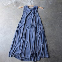 slouchy twist-back swing dress - blue