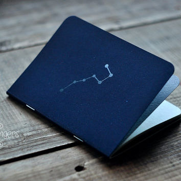 "Deep Blue notebook-sketchbook with a carved pattern - constellation ""Ursa Major"" (small size)"