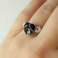 Black heart ring, Swarovski crystal silver ring, sterling silver jewelry, handmade adjustable ring