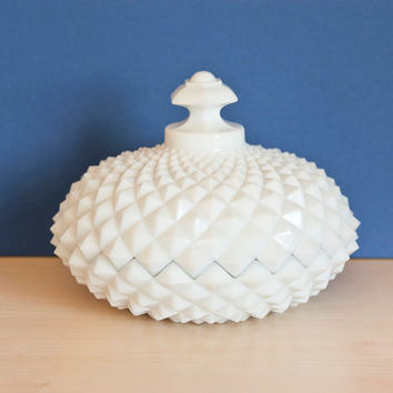 Westmoreland Sawtooth Milk Glass Candy Dish, Powder Puff Container, Diamond Pattern