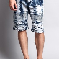 Distressed Washed Biker Shorts