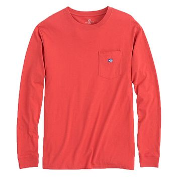 Long Sleeve Embroidered Pocket T-Shirt in Terracotta by Southern Tide