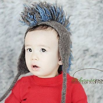 Punk baby mohawk hat hand knit for newborns by FuzzyFunkDesigns