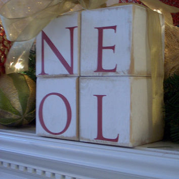 Letter Blocks/ Wood Block Letters/ Noel/ Hand Painted Blocks/Home Decor/Shelf Sitter/Mantle Wood Block Letters/Sign/Painted Wood Blocks/