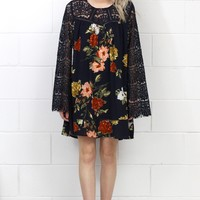 Long Lace Bell Sleeves Floral Printed Dress {Navy}