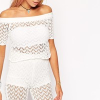 ASOS Crochet Cropped Top in Off Shoulder Shape