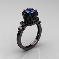Exclusive Classic Armenian 14K Black Gold 2.0 Alexandrite Black Diamond Bridal Solitaire Ring R405-14KBGBD2AL