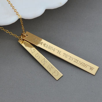 Gold Coordinates Necklace, Nameplate Vertical Bar Necklace, Bar Pendant Necklace, New Mom Necklace, Gift For Mom, Gift For Her
