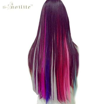 ONETOW SNOILITE Long Straight Women Synthetic Cosplay Clip in Hair Extensions Rainbow Colors one piece Hairpiece purple pink red blue