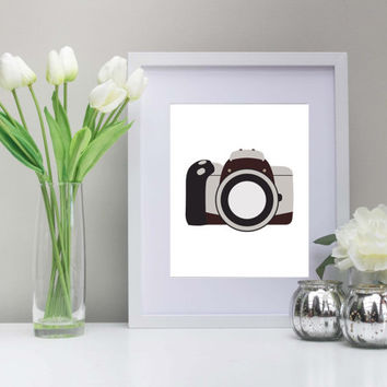 Camera 8x10Inch Art, Instant Download, Printable, Camera Art, Photography Art, Photographer Art, Photo Art, Smile for the camera!