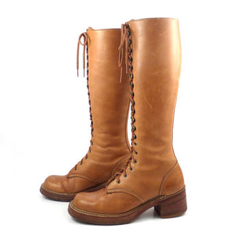 Lace Up Boots Vintage 1970s Bort Carleton Tall Brown Leather Women's  size 7 1/2