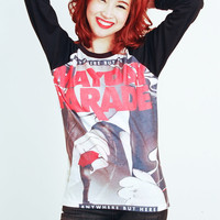 Mayday Parade two tone Punk Rock Baseball long sleeve Tee Shirt Women Girl Sz S,M,L