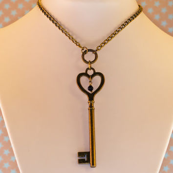 Secret Key bronze pendant necklace with chain