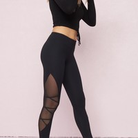 Lace-Up and Mesh Legging