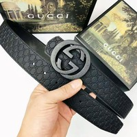 GUCCI Fashion New GG Buckle More Letter Leather Women Men Belt Black