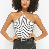 Striped Chevron Halter Bodysuit