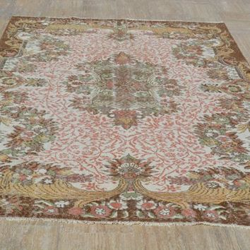 Turkish Rugs, Medallion rugs, Antique rug, Oushak Rug, Area rug, Vintage Rugs, Turkish carpet, Small rug, Over dyed rug, 5.9x9.2 Ft AG515