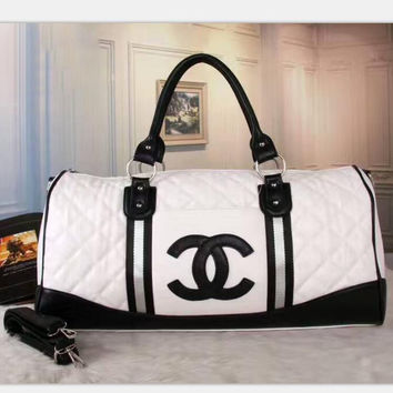 CHANEL Women Leather white black Luggage Travel Bags Tote Handbag H-LLBPFSH