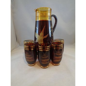 Amber/Chocolate Brown Pitcher With Eagle/5 Tumblers