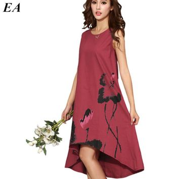 Women Long beautiful summer dresses Sleeveless chiffon dress festa painting ladies casual maxi dress robe longue femme DT110