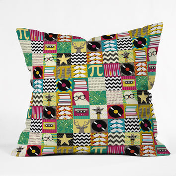 Sharon Turner Hip Hip Geek Outdoor Throw Pillow