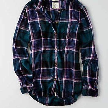 AEO Ahh-mazingly Soft Boyfriend Plaid Shirt , Turquoise