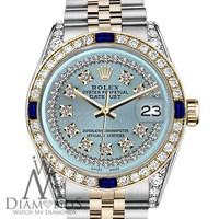 Rolex 31mm Datejust 2 Tone Ice Blue String Dial with Sapphire & Diamond Bezel