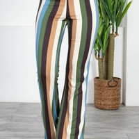 Ocean Bold Striped Flared Pants