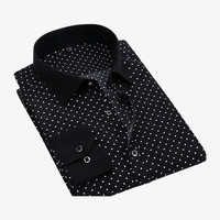 Slim Fit Polka Dots Printed Shirt In Black