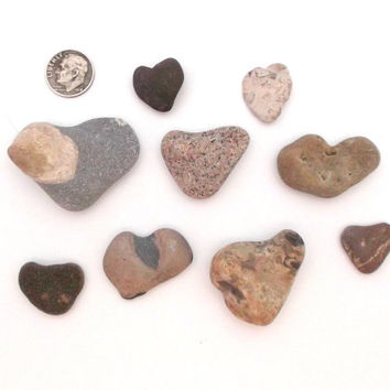 Beach stone heart rock heart pebble heart collection
