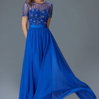 G2042 Short Sleeve Sheer Illusion Chiffon Mother Of the Bride Dress Evening Gown