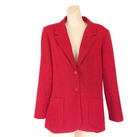 Vintage Red Blazer Women Blazer Ladies Blazer Fitted Blazer Ladies Clothing Ladies Clothes Single Breasted Blazer Work Clothes Women Jacket