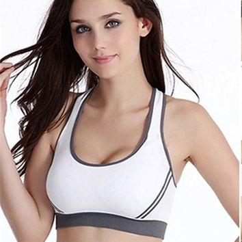 5c99fdcb52 Women Jogging Athletic Running Sports Bra Breathable Sports Bra Gym Wear  Fitness Crop Top Yoga Exercise