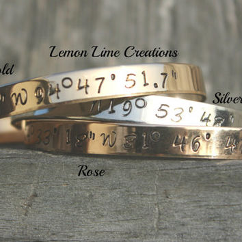 Conner Font, Coordinate Cuff, Personalize Coordinate Bracelet, Wedding Gift, Longitude Latitude, Memory Bracelet, Mother, Silver, Rose, Gold