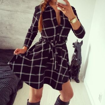 Plaids Ribbon Tie 3/4  Sleeve Dress