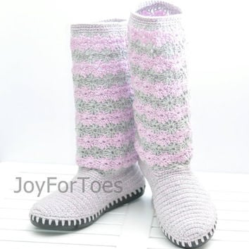 Crochet Boots Shoes for the Street Woman Laced Lilac Lavender Grey Boho Style Made to Order Lace Boots Cotton