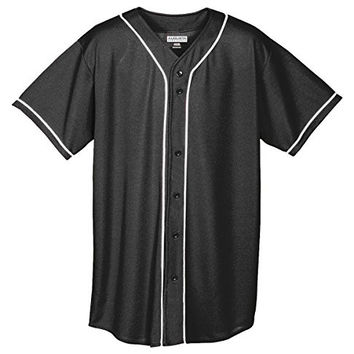 Augusta Sportswear MEN'S WICKING MESH BUTTON FRONT BASEBALL JERSEY WITH BRAID TRIM XL Black/White