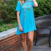 On The Border Dress, Cyan