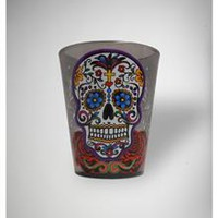 Multicolor Day of the Dead Skull 2 oz. Shot Glass