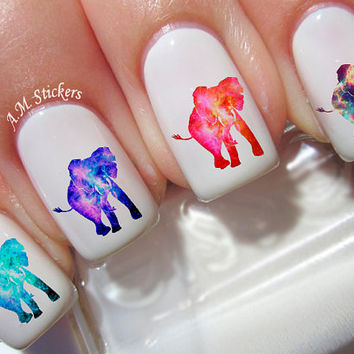 60 Galaxy Elephants Nail Decal