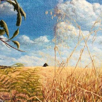 Fields of Gold, Painting of Wheat, Acrylic Painting,  Home Decor