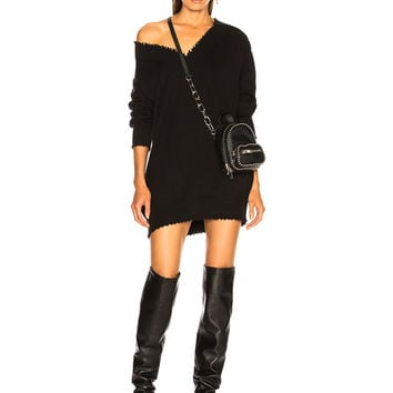 T by Alexander Wang V Neck Dress in Black | FWRD