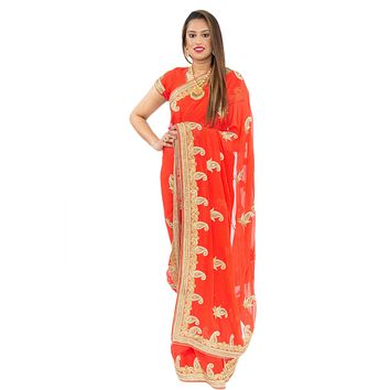 Flawless Apricot Pre-Pleated Ready-Made Sari