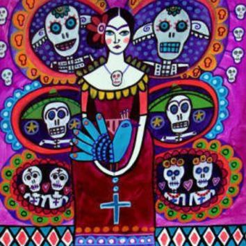 $24 Mexican Tree Of Life Sugar Skulls Folk Art by CollectArtwork