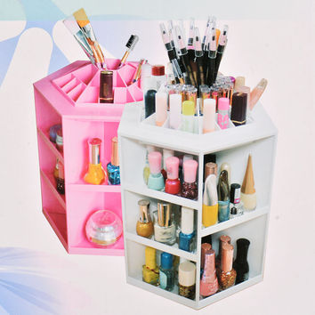 360 Degree Rotating Spinning Cosmetic Storage Box Makeup Organizer