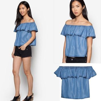 Summer Ruffle Strapless Denim Tops T-shirts [6048193217]