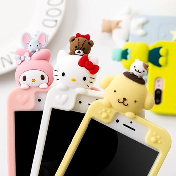 Super lovely 3D Cute Japan Cartoon animal cat My Melody bear Soft Silicon Case Cover for iphone 6 6SPlus 7 7Plus 8 8plus X cases