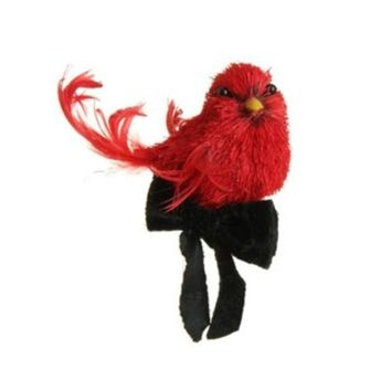 """4.5"""" Glittered Left Facing Red Cardinal with Black Ribbon Bow Bird Clip On Christmas Ornament"""