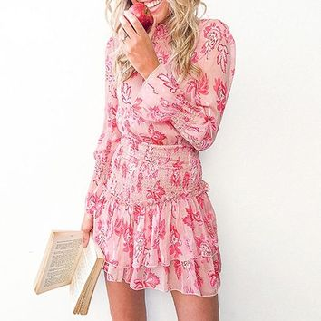 Smocking Flounce Short Dress Women Long Sleeve Floral Feminine Party Casual Pink Dress