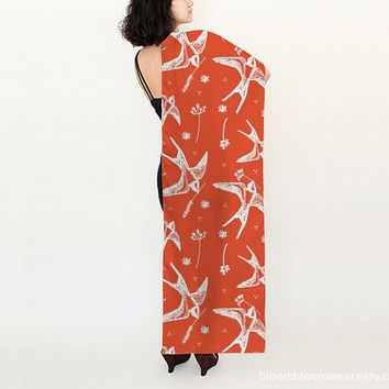 Birds and Flowers Silk Scarf / Printed Scarf / Coral Orange Scarf /  Women Fashion Accessories / Bloom Bloom Wear